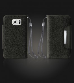 Lychee PU leather wallet Galaxy S6 edge - Black