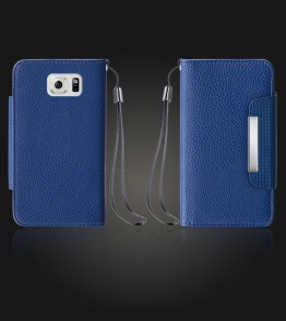 Lychee PU leather wallet Galaxy S6 edge - Blue