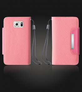 Lychee PU leather wallet Galaxy S6 edge - Pink