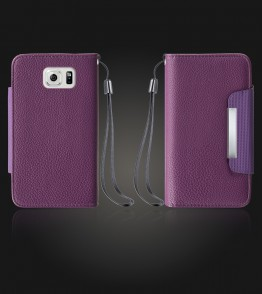 Lychee PU leather wallet Galaxy S6 edge - Purple