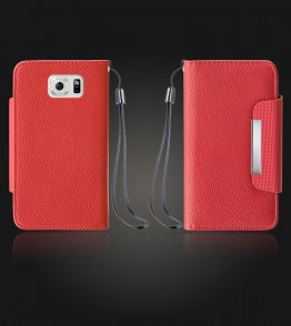Lychee PU leather wallet Galaxy S6 edge - Red