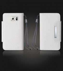 Lychee PU leather wallet Galaxy S6 edge - White