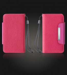 Detachable Lychee PU wallet Galaxy S6 - Hot Pink