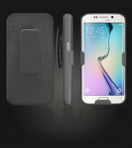 Holster Combo Case with Kick-Stand & Belt Clip Galaxy S6 edge - Black