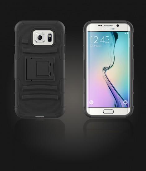 Rugged Hybrid Case Belt Clip Holster Galaxy S6 edge - Black