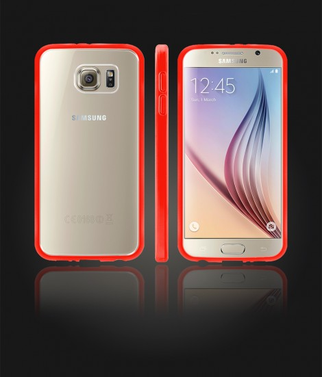 Clear Back Gummy Case Galaxy S6 - Red