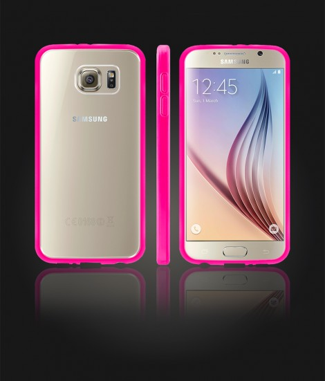 Clear Back Gummy Case Galaxy S6 - Pink