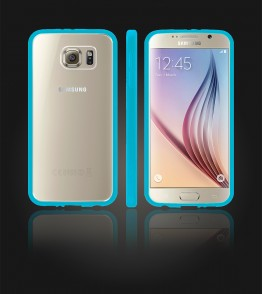 Clear Back Gummy Case Galaxy S6 - Light Blue