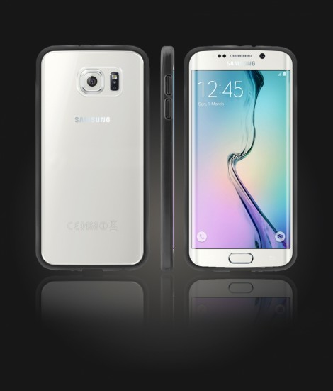 Clear Back Gummy Case Galaxy S6 edge - Black