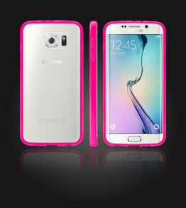 Clear Back Gummy Case Galaxy S6 edge - Pink