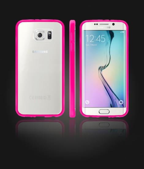 Clear Back Gummy Case Galaxy S6 edge - Pink
