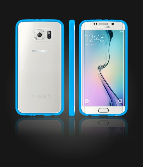 Clear Back Gummy Case Galaxy S6 edge - Light Blue