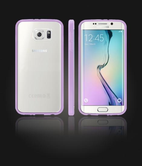 Clear Back Gummy Case Galaxy S6 edge - Purple