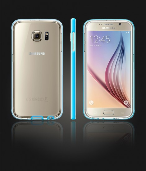 Detachable Bumper TPU Clear case Galaxy S6 - Light Blue