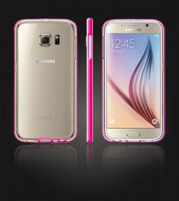 Detachable Bumper TPU Clear case Galaxy S6 - Pink