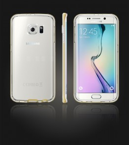 Detachable Bumper TPU Clear case Galaxy S6 edge - Gold