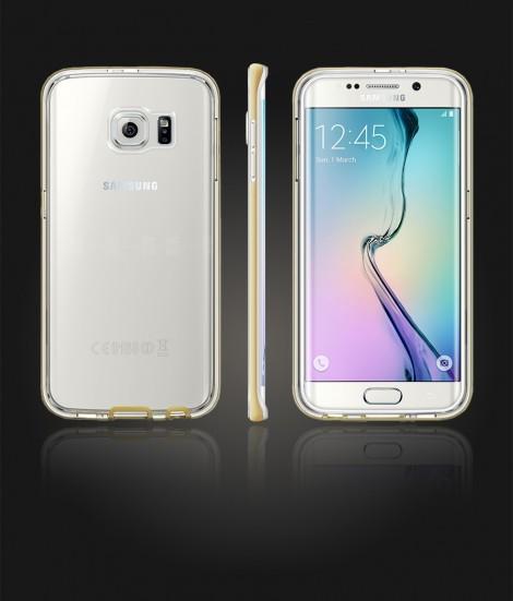 Detachable Bumper TPU Clear case Galaxy S6 edge - Gold