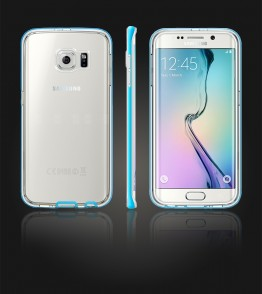 Detachable Bumper TPU Clear case Galaxy S6 edge - Light Blue