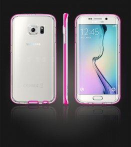 Detachable Bumper TPU Clear case Galaxy S6 edge - Pink