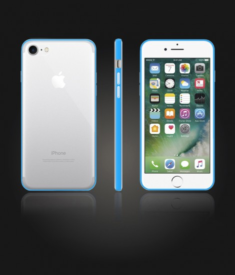 Bumper TPU Clear case iphone 7 - Light Blue