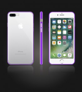 Bumper TPU Clear case iphone 7 Plus - Purple