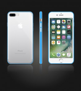 Bumper TPU Clear case iphone 7 Plus - Light Blue