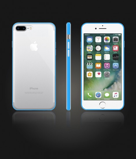 Bumper TPU Clear case iphone 7 Plus - Light Blue
