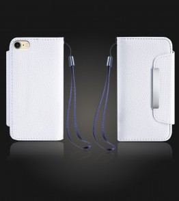 Lychee PU leather wallet iPhone 7 - White