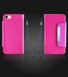 Lychee PU leather wallet iPhone 7 - Hot Pink