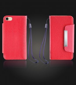 Lychee PU leather wallet iPhone 7 - Red