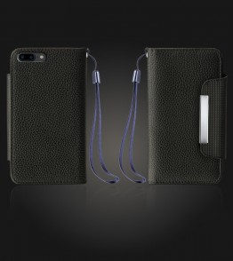Lychee PU leather wallet iPhone 7 Plus - Black