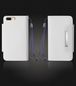 Lychee PU leather wallet iPhone 7 Plus - White