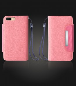 Lychee PU leather wallet iPhone 7 Plus - Pink