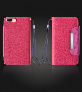 Lychee PU leather wallet iPhone 7 Plus - Hot Pink