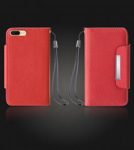 Lychee PU leather wallet iPhone 7 Plus - Red