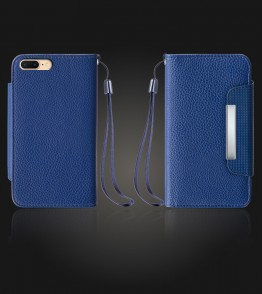 Lychee PU leather wallet iPhone 7 Plus - Blue